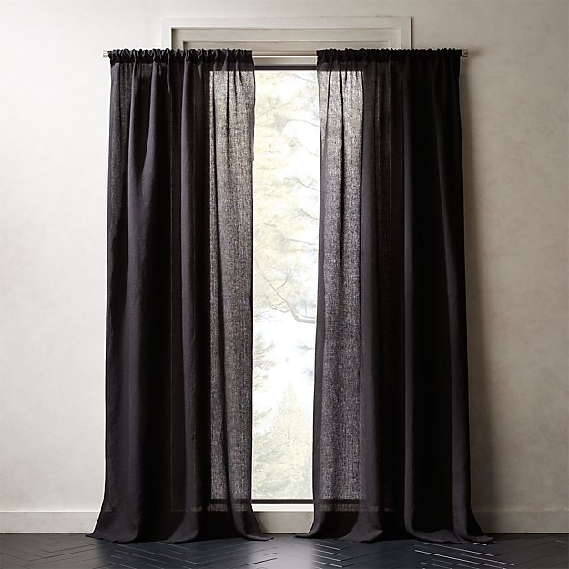 Linen Black Curtain Panel - Image 1 of 5
