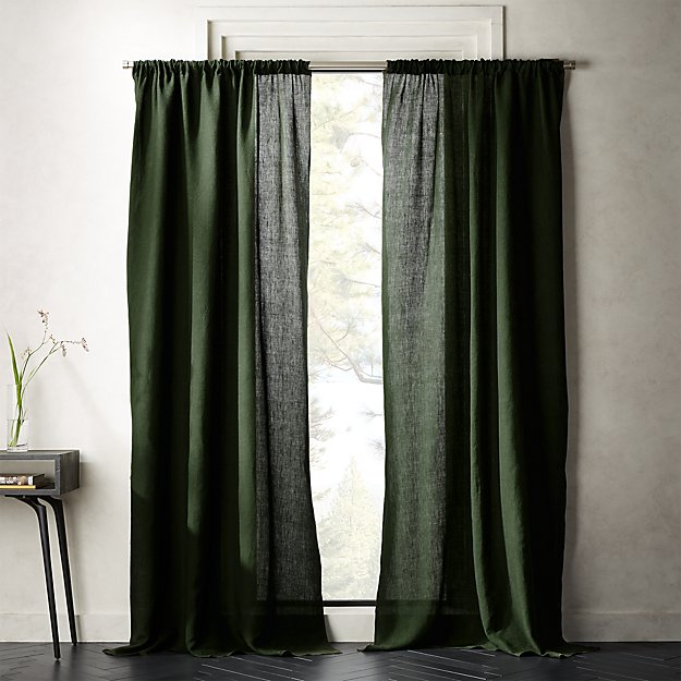 Forest Green Linen Curtain Panel - Image 1 of 3