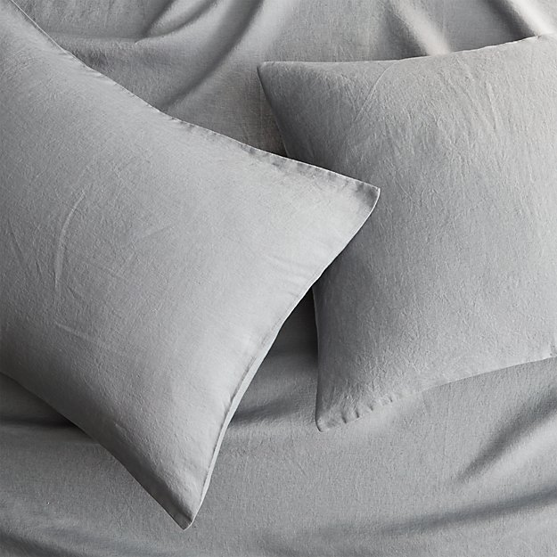 Set of 2 Linen Cement Standard Pillowcases - Image 1 of 11