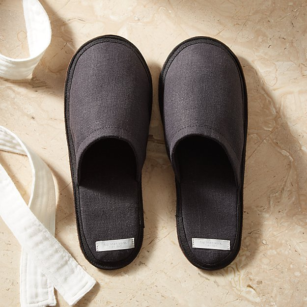 Linen Graphite Slippers Large - Image 1 of 5