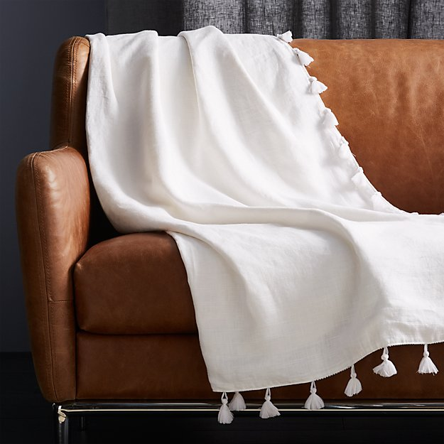 Linen White Throw with Tassels - Image 1 of 3