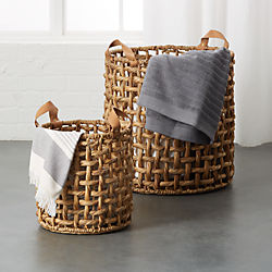 storage baskets metal rope jute and more cb2