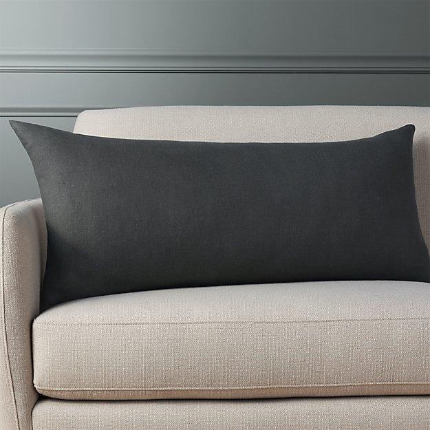 "36""x16"" Linon Dark Grey Pillow - Image 1 of 4"