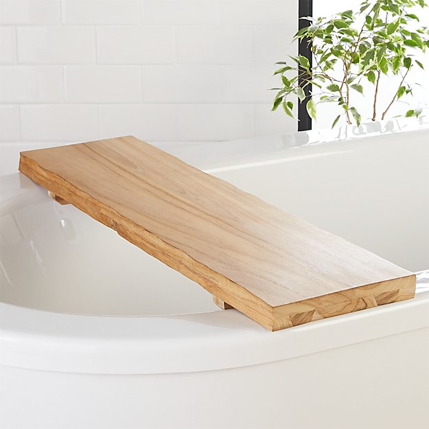 Live Edge Wood Bath Caddy + Reviews | CB2