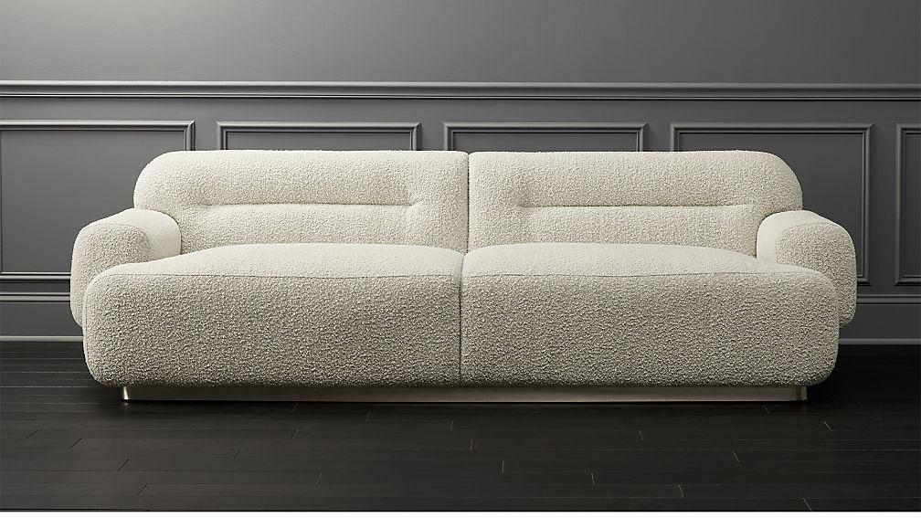 Logan Grey Boucle Sofa Reviews Cb2