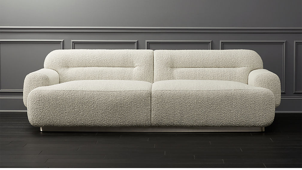 Logan Grey Boucle Sofa Reviews Cb2