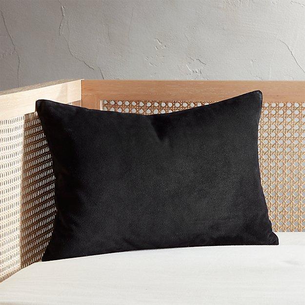 "18""x12"" Loki Black Suede Pillow - Image 1 of 6"