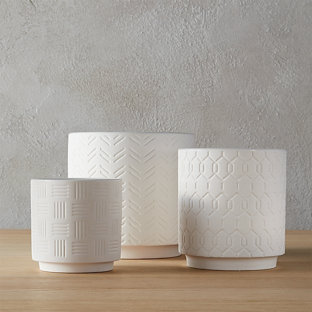 3-Piece White Loom Planter Set - Image 1 of 12