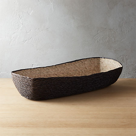 Lorena Long Oval Black Bread Basket Cb2