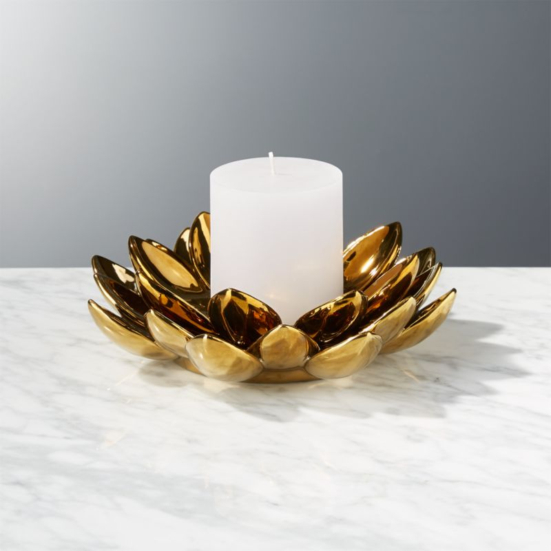 2 piece lotus flower candle holder