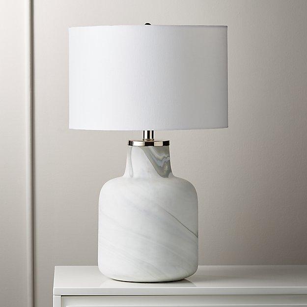 Large Marblized Grey Table Lamp - Image 1 of 5