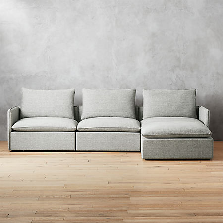 Lumin Grey Linen 4 Piece Sectional Sofa