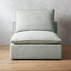 Lumin Grey Linen Armless Chair