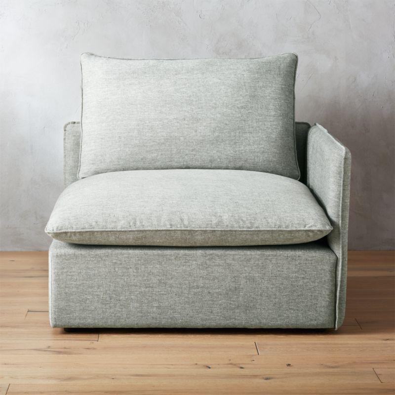lumin grey linen corner chair reviews cb2