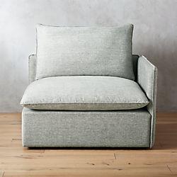 Superieur Lumin Grey Linen Corner Chair