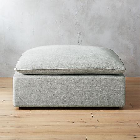 Lumin Grey Linen Ottoman Cb2