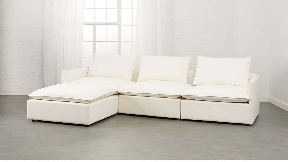 Charmant Lumin White Linen 4 Piece Sectional Sofa + Reviews | CB2