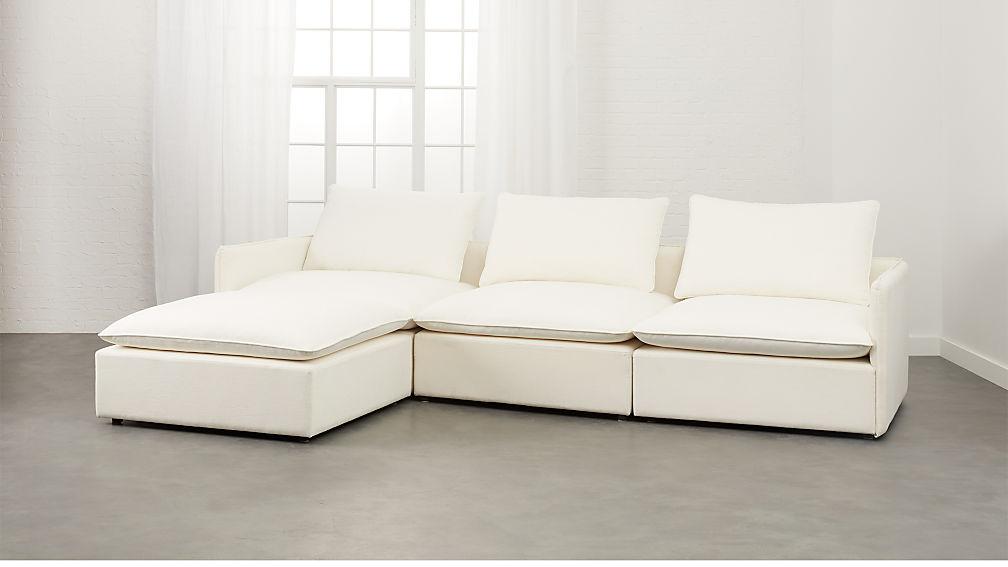 Lumin White Linen 4-Piece Sectional Sofa