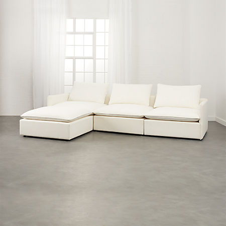 Lumin White Linen 4 Piece Sectional Sofa