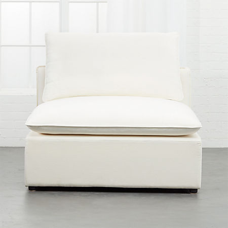 Lumin White Linen Armless Chair