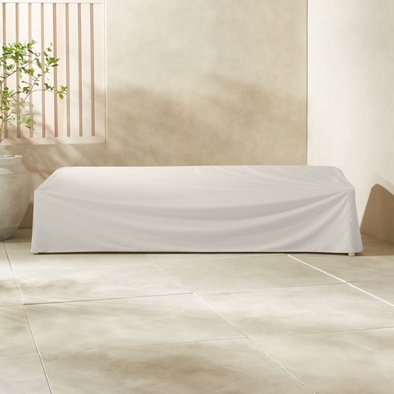 Lunes White Waterproof Outdoor Sofa Cover + Reviews | CB2