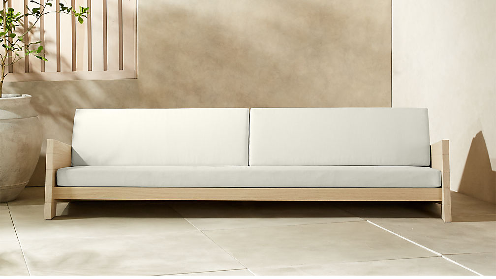 Lunes White Outdoor Sofa + Reviews | CB2