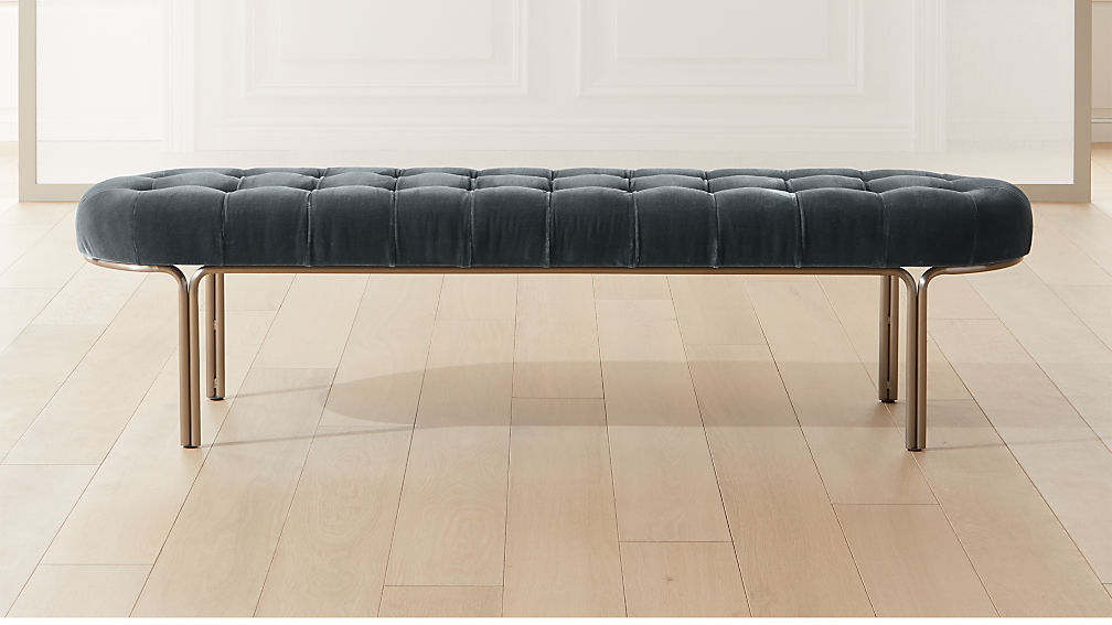 Luxey Tufted Faux Mohair Bench - Image 1 of 7