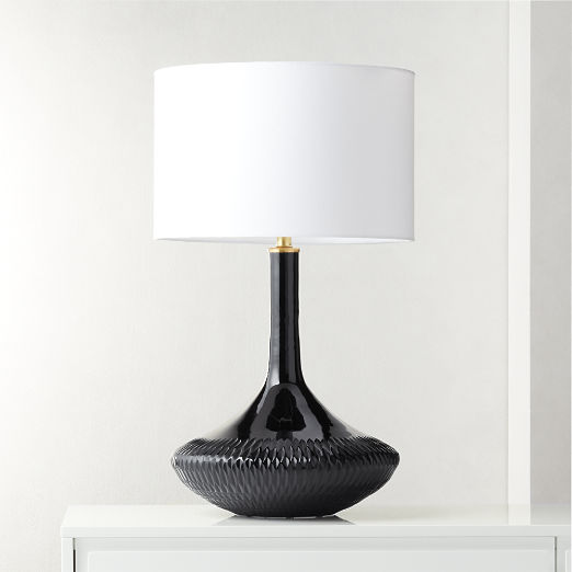 Luxor Black Glass Table Lamp