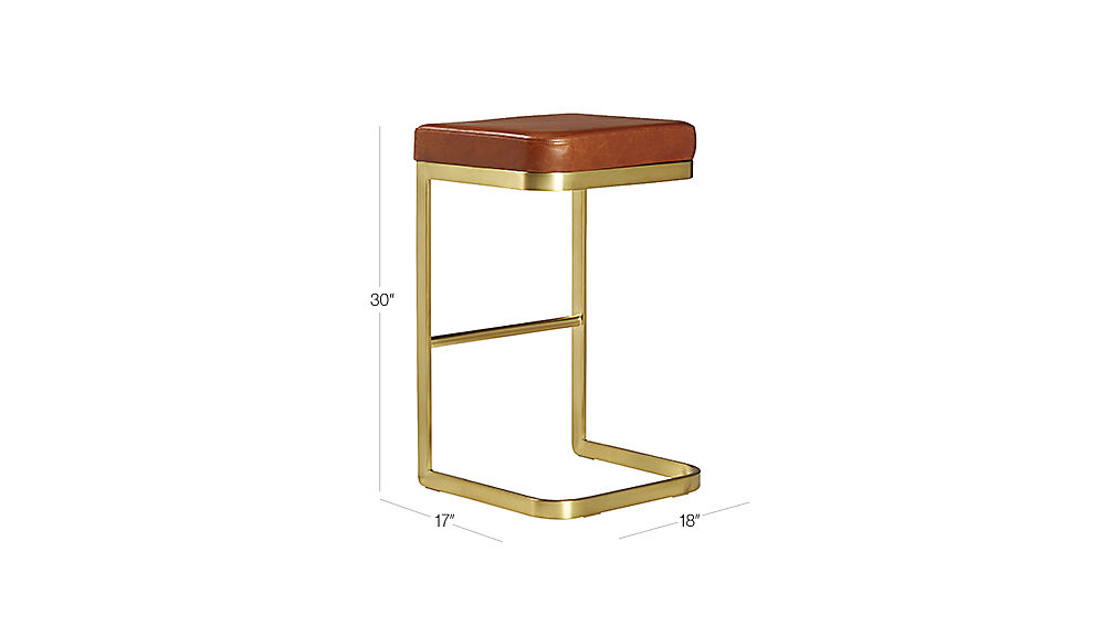 Mack Leather Bar Stools Cb2