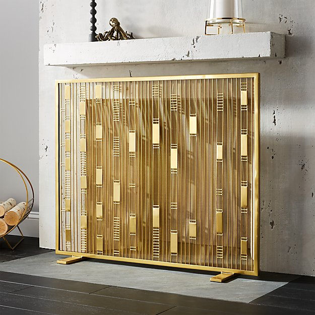 Ac Unit Prices >> Maclyn Brass Fireplace Screen + Reviews | CB2