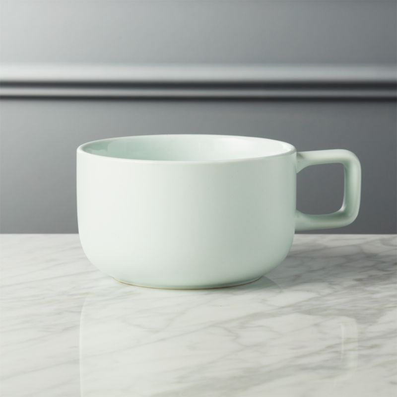 Major Large Matte Mint Green Mug & green dinnerware | CB2