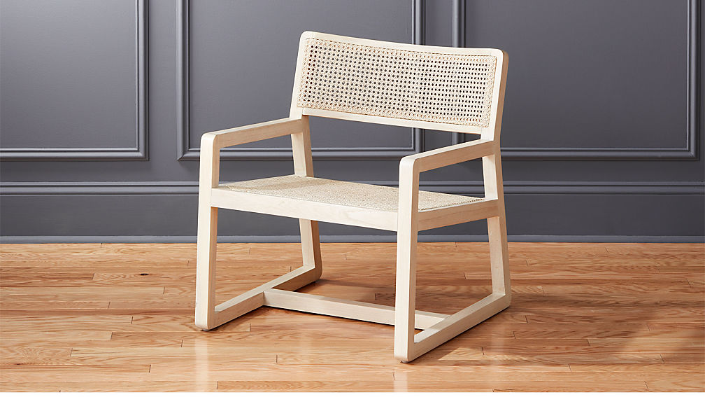 makan white wood and wicker lounge chair reviews cb2