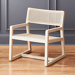 Makan White Wood And Wicker Lounge Chair
