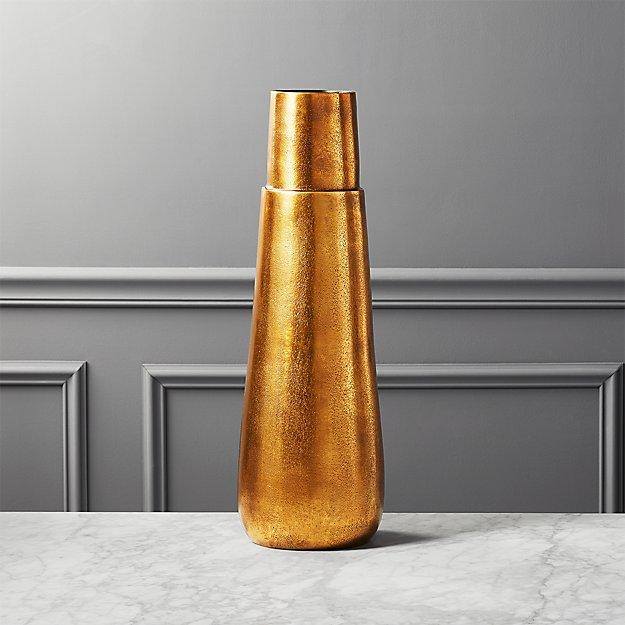 Malta Tall Brass Vase Reviews Cb2
