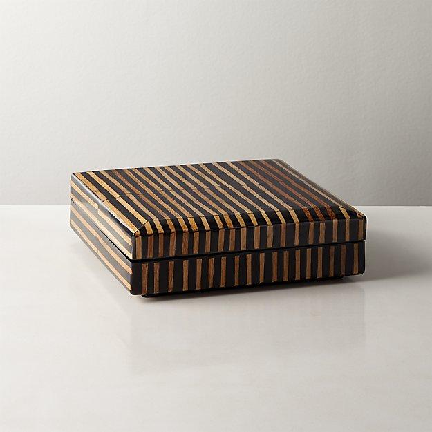 Mar Rattan Striped Box Small - Image 1 of 10