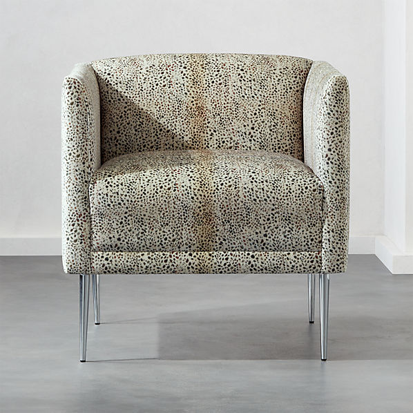 Marais Cheetah Print Velvet Armchair With Chrome Legs Reviews Cb2