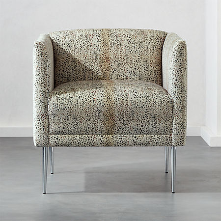 Sensational Marais Cheetah Print Velvet Armchair With Chrome Legs Cb2 Machost Co Dining Chair Design Ideas Machostcouk