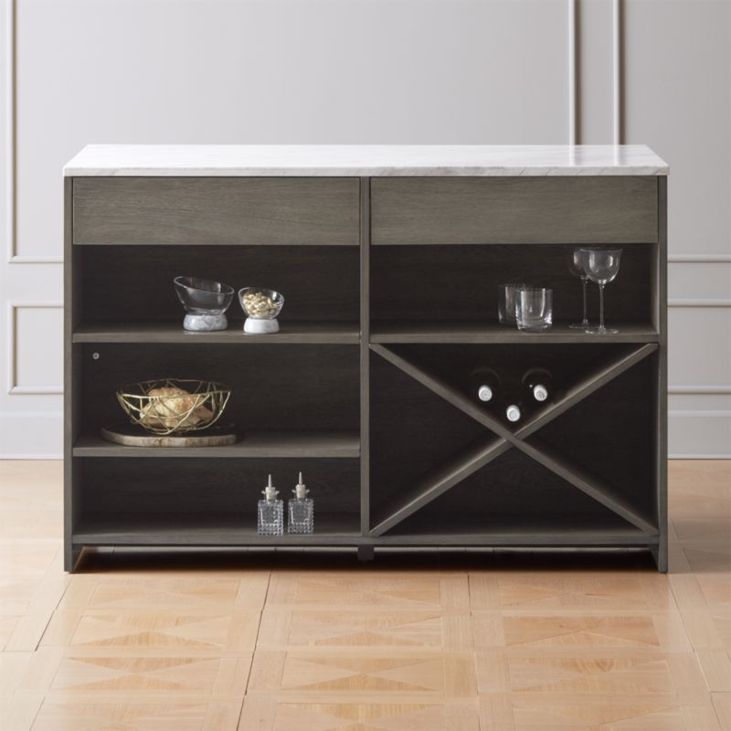 incredible Cb2 Kitchen Island Part - 9: White Marble Top Island Grey Wood