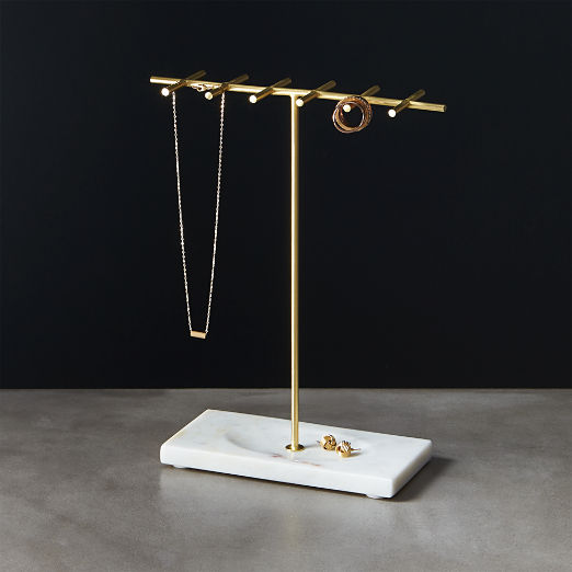 Brass and Marble Jewelry Holder
