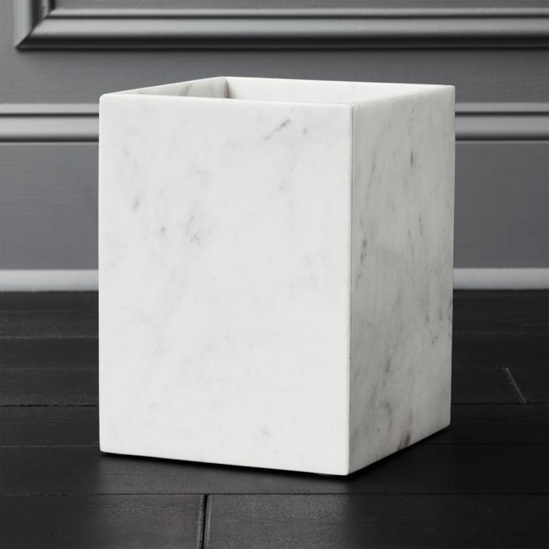 White Marble Wastebasket Reviews Cb2, Modern Bathroom Wastebasket