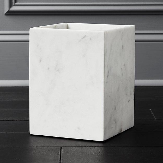 White Marble Wastebasket - Image 1 of 4