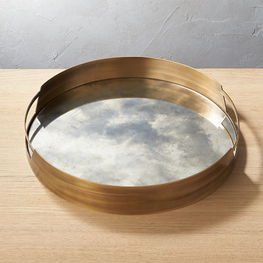 Marcella Brass Antique Mirror Tray