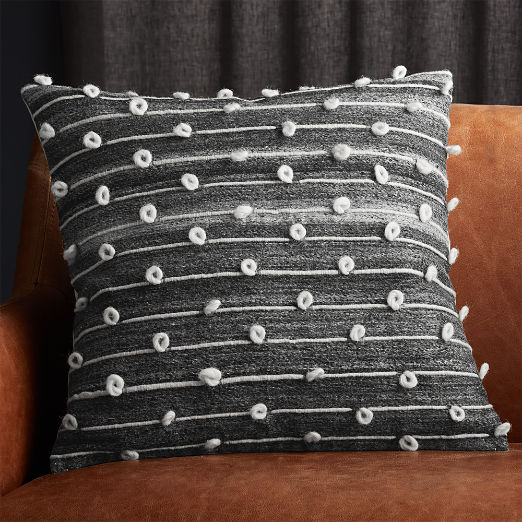 "20"" Margaux Dark Grey French Knot Pillow"
