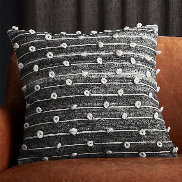 """20"""" Margaux Dark Grey French Knot Pillow - Image 1 of 6"""