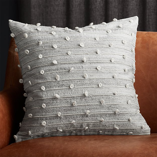 "20"" Margaux Light Grey French Knot Pillow - Image 1 of 4"