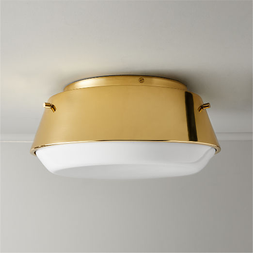 Mari Brass Milk Glass Flush Mount Light