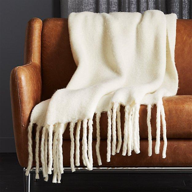 Marlee White Fringe Throw - Image 1 of 7