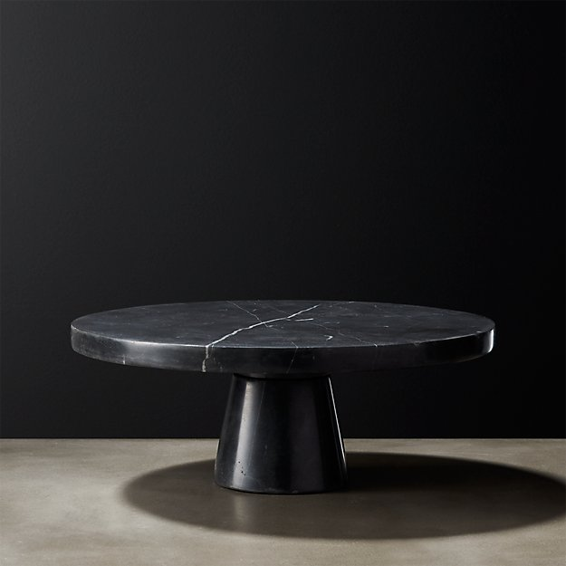 Marshall Black Marble Cake Stand Reviews Cb2