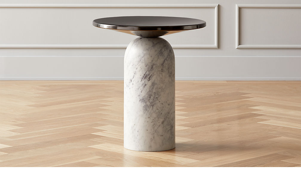 Martini Side Table with White Marble Base - Image 1 of 4