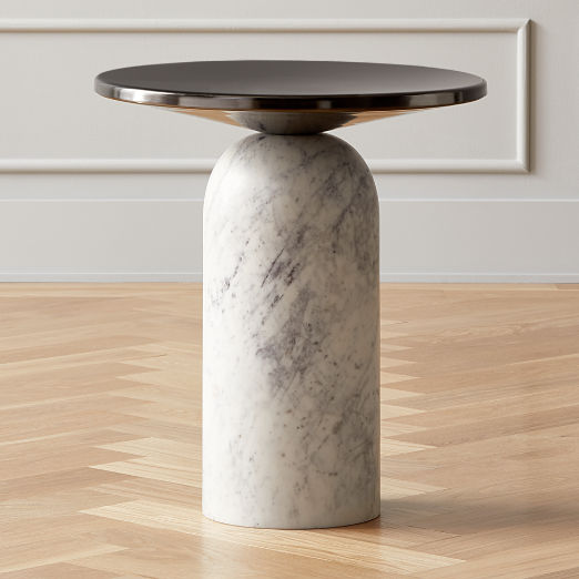 Martini Side Table with White Marble Base